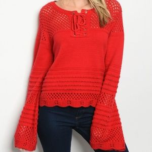 FALL WINTER LADIES RED KNIT SWEATER TOP